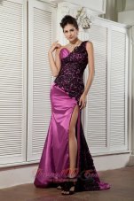 Purple Lace One Shoulder Prom Evening Pageant Dress Ruched