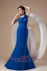 Royal Blue One Shoulder Prom Dress Hand Made Flower