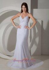 White Halter Prom Evening Dress Chiffon Court Train