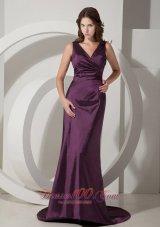 V-neck Dark Purple Bridesmaid Evening Dress Taffeta Train
