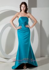 Teal Prom Homecoming Dress Strapless Sweep Satin