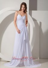 Beading Straps Prom Evening Dress Court Train Chiffon