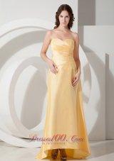 Pleats Light Yellow Prom Evening Dress Sweetheart Train