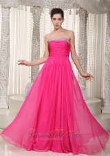 Hot Pink Beading Ruched Prom Party Dress Chiffon
