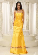 Appliques One Shoulder Ruched Yellow Prom Evening Dress
