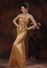 Mermaid Champagne Mother Of Bride Evening Dress Beaded Bow
