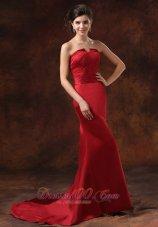 Red Prom Evening Dress Mermaid Strapless Brush Train