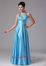 Beading Halter Baby Blue Prom Homecoming Dress Ruched