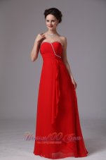 Red Sweetheart Beaded Ruch Chiffon Prom Dress For Party