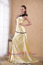 Ruched One Shoulder Light Yellow Prom Evening Dress
