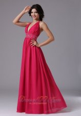 Beading Halter Coral Red Prom Evening Dress Ruched