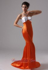 Colorful Mermaid Organge Red Prom Evening Dresses