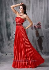 Pleated Beading Red Formal Prom Evening Dress
