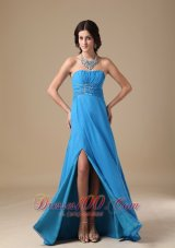Ruch Sky Blue Prom Evening Dress Beading Chiffon