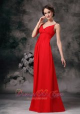 Spaghetti Straps Red Evening Bridesmaid Dress Chiffon