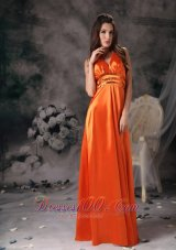 Paillette Halter Orange Red Prom Evening Dress Beaded