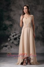Champagne Spaghetti Straps Mother Of Bride Dress Beaded