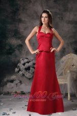 Halter Wine Red Bridesmaid Dress For Formal Evening