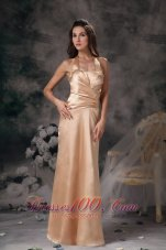 Ruched Halter Champagne Bridesmaid Dress For Party