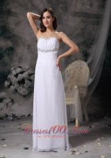 White Beaded Prom Evening Dress Chiffon Brush Train