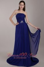 Sequins Peacock Blue Prom Celebrity Dress Chiffon
