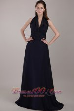 Navy Blue Halter Ruched Prom Evening Dress Train