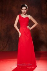 Ruched One Shoulder Red Bridesmaid Dress For Party