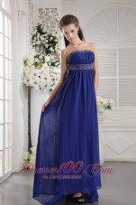 Blue Beading Prom Evening Dress Strapless Train