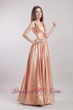 Champagne V-neck Pleat Prom Evening Dress Taffeta