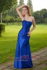 Beading One Shoulder Blue Formal Evening Dress