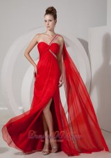 One Shoulder Beaded Red Prom Evening Dress Train