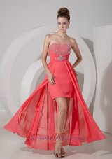 Watermelon Red High-low Prom Dress Evening Gown