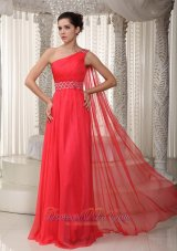 Coral Red Beaded One Shoulder Prom Evening Dress