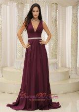 V-neck Burgundy For Mother Of The Bride Pageant Dress Belt