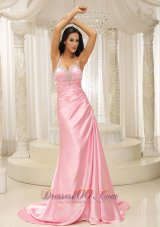 Ruched Halter Top Rose Pink Prom Evening Dress