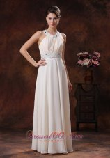 White Scoop Beaded Prom Dress For Formal Evening