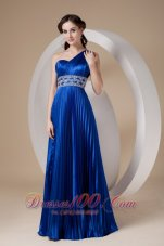 Pleated One Shoulder Blue Prom Evening Dress Beaded
