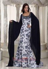 Perfect Mermaid Square Printing Beading Prom Dress