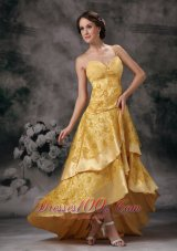 Gold Empire Sweetheart Taffeta Prom Evening Dress