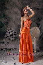 Modest Orange Red Prom Dress Strapless Taffeta Beading