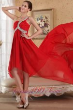Red Empire One Shoulder Train Chiffon Beading Prom Dress