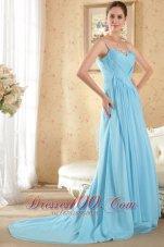 Aqua Column Sheath Brush Train Beading Prom Evening Dress