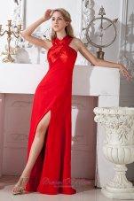 Red Column Cross Straps Prom Dress Elastic Satin