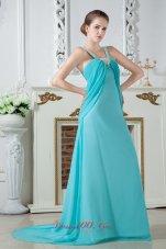 Aqua Blue Empire Chiffon Ruch Beading Prom Dress