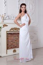 White Column Sheath Chiffon Ruched Prom Dress