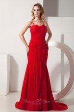 Fashion Red Mermaid Straps Chiffon Ruch Prom Dress