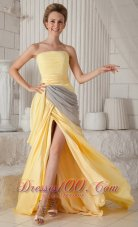 Yellow Empire Strapless Train Elastic Ruch Prom Evening Dress