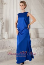 Blue Column Bateau Woven Satin Prom Dress Discount