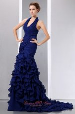 Navy Blue Mermaid Halter Prom Dress Chiffon Ruched