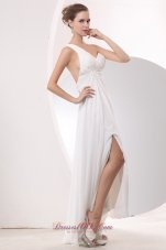 White Empire Prom Evening Dress High-low Chiffon